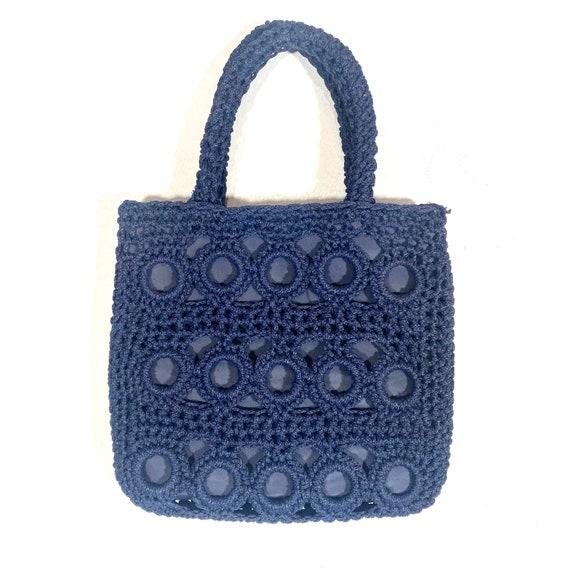 1960s Deep navy blue crochet / macramé cloth bag,
