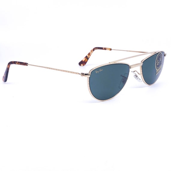 RayBan W1758 oval gold aviator sunglasses made in… - image 6