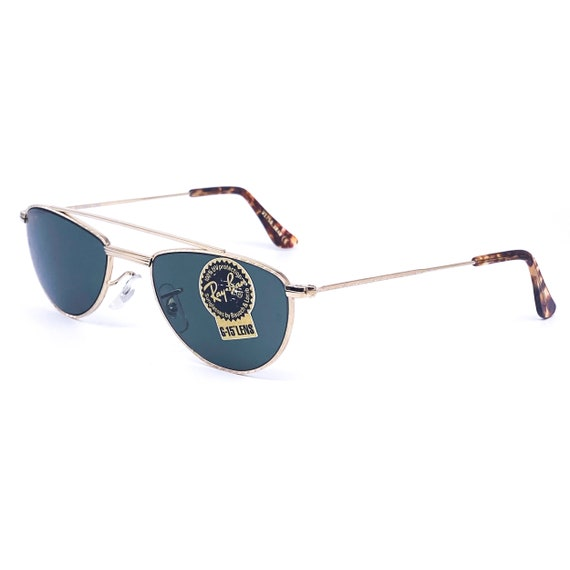 RayBan W1758 oval gold aviator sunglasses made in… - image 3