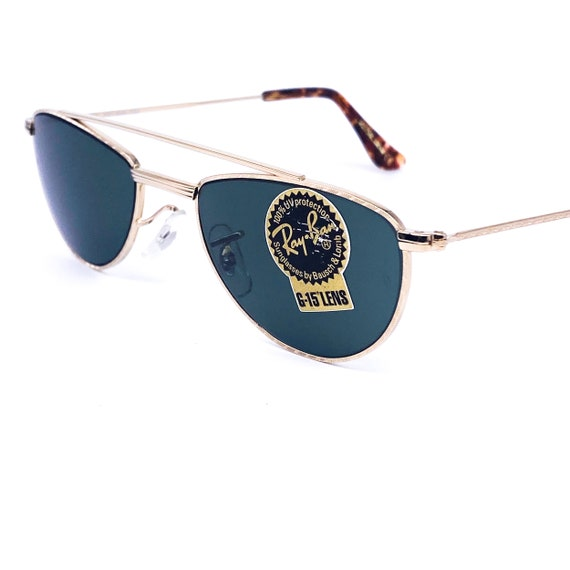 RayBan W1758 oval gold aviator sunglasses made in… - image 4