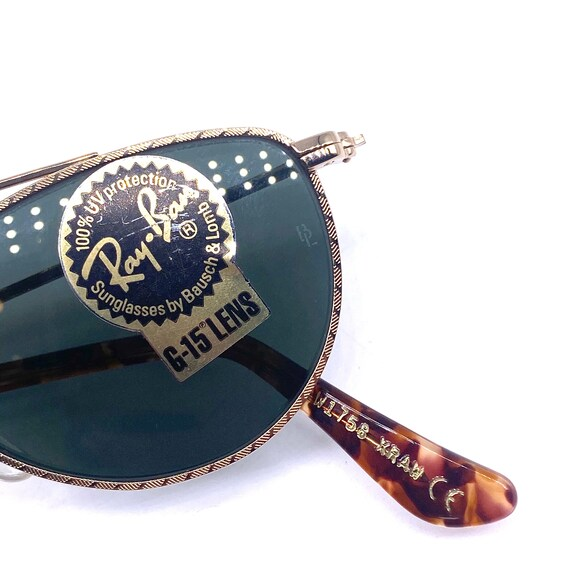 RayBan W1758 oval gold aviator sunglasses made in… - image 8