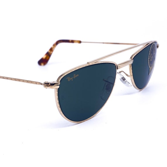 RayBan W1758 oval gold aviator sunglasses made in… - image 5