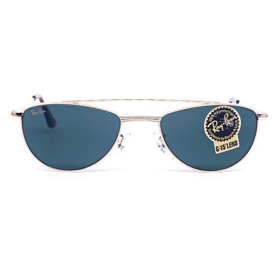 RayBan W1758 oval gold aviator sunglasses made in… - image 2
