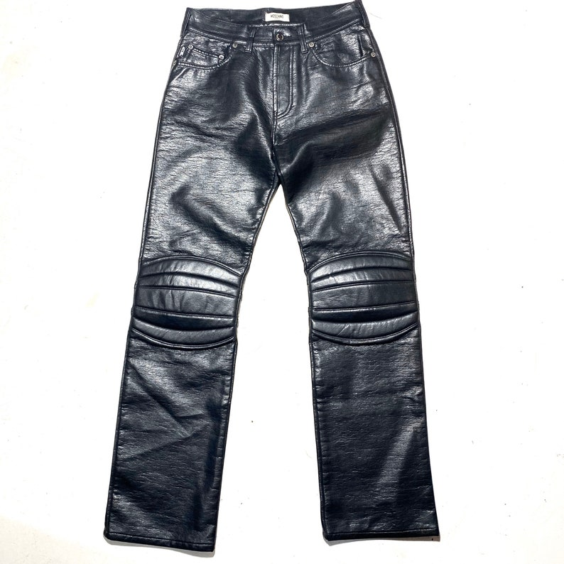 great condition. biker style with padded knees Moschino Jeans 90s ladies black faux leather trousers