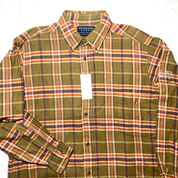 Outrage 90s NWT checkered flannel shirt, military