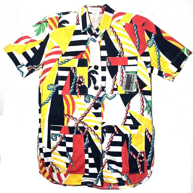 Escada cool vintage long cotton beach shirt  dress perfect over swimsuit minty sz 34