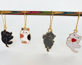 Set of 4 Cat lover Stitch markersProgress keepers for knitting and crochet projects