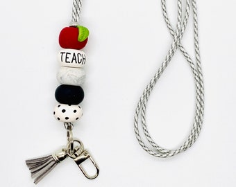 Apple Teacher Lanyard - Beaded Lanyard