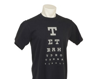 TH-See Eye Chart, T-Shirt, Tetrahydrocannabinol, Mens fit, Graphic, Cotton, USA Grown, Made in USA, Black, Green, Cannabis Dyed,