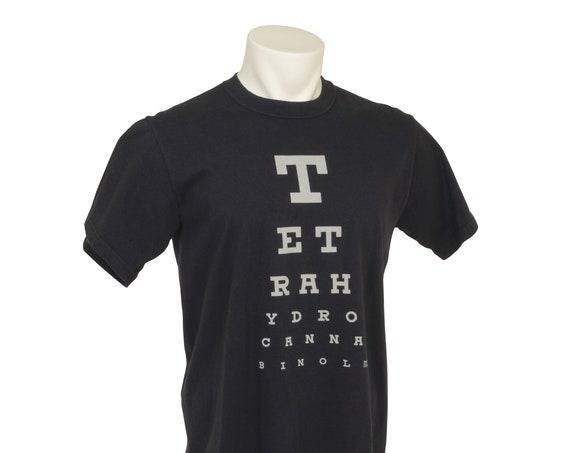 TH-See Eye Chart, T-Shirt, Tetrahydrocannabinol, Mens fit, Graphic, Cotton, USA Grown, Made in USA, Black, Green, Cannabis Dyed,