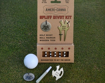Spliff Divot Kit, Roach Clip, Golf Divot, Ball Marker, Golf Tee, Multi Tool Kit, Weed, Ganja, Ganja Tool