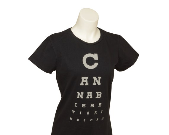 Cannabis Eye Chart, Cannabis, Sativa, Indica, Women's, Black, Green, T-Shirt, Cotton, Made in USA, Grown in USA