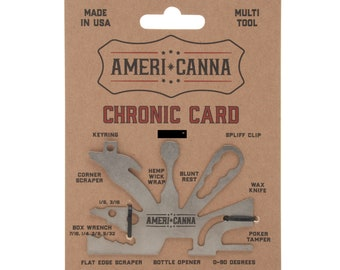 Chronic Card, 18-in-one Multi Tool, Roach Clip, Bottle Opener, Hemp Wick Wrap, Blunt Rest, Poker.