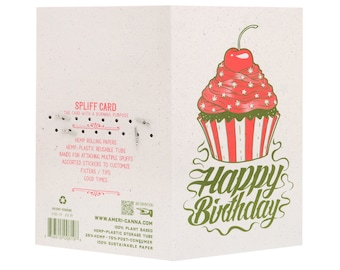 Spliff Card / Birthday CupCake / Cannabis Gifting Card / Rolling Papers / Puff Card / Weed Card / Weed Accessory / Stoner Card