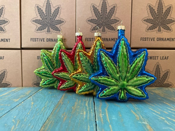 Cannabis Leaf Ornament 4 pack, includes Red, Blue, Green, and Gold, Weed, Ganja
