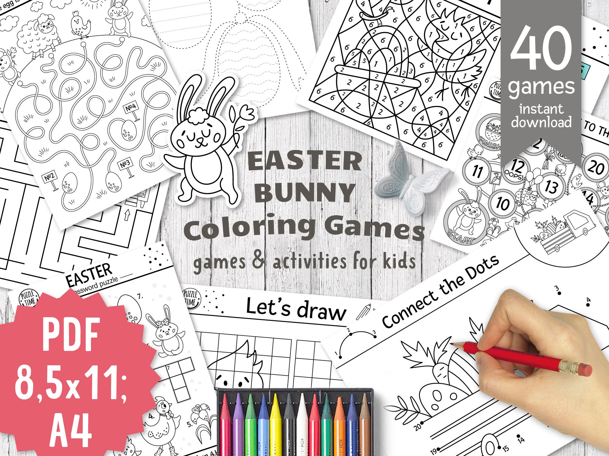 Easter coloring pages, colouring games for kids, Spring activity worksheets  with Easter Bunny, Easter printable pack, Easter party games
