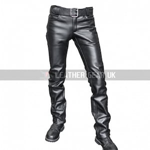 Mens Leather Classic Pants Real Lamb Skin Casual Pants Handmade Party Pants