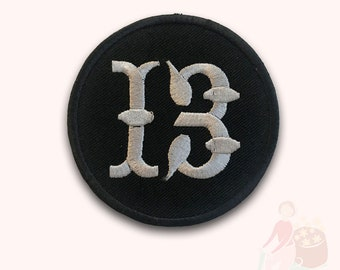 Lucky 13 Biker Group Embroidered Iron On Sew On PatchBadge