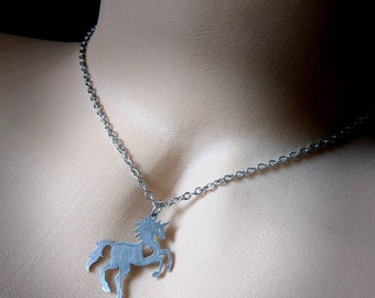 Gorgeous Stainless Steel Laser Cut  Unicorn Choker Necklace