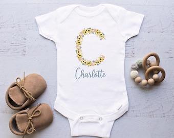 Alphabet Name Baby Onesie\u00ae Baby Onesie\u00ae Baby Gifts Alphabet Name Baby Onesie\u00ae Baby Shower Gift Cute Baby Clothes Monogram Baby Onesie\u00ae
