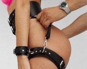 Leather BDSM belt,Leather bondage cuffs,Fetish garter,Restraints and cuffs,Sex furniture,Leather handcuffs,Wrist cuffs for women,Garter set