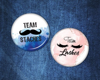 Team Staches And Team Lashes Buttons | Set of 2 | Water color | Team Boy | Team Girl | Gender Reveal Party