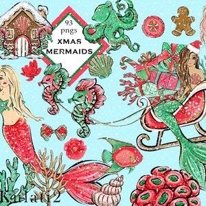 nautical Xmas tropical Xmas PNG Digital Download Download Xmas presents png Xmas png Christmas Mermaid Sleigh Sublimation file
