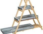 Natural Wood A-Frame Ladder Shelves