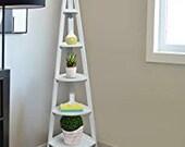 Vintage Style Solid Pin Corner Ladder White Bookcase