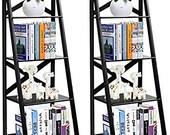 4-Tier Ladder Shelf Bookcase Set of 2 Leaning Free Standing Wooden Frame Bookshelf Storage Flower Shelf, Plant Display