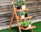 Potted Plant Organizer Wood Ladder Pot Holder 3 Tier