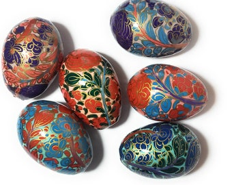 Decorative Egg Hand Painted Wood Egg Hand Painted Wooden Egg Mud Texture Medium. Hand Painted Egg