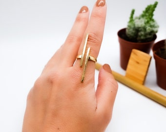 925 Sterling Silver Ring, 18K Gold Plated Ring, Gemstone Ring, Handmade Ring, Handmade Woman Jewellery, Unique Ring, Gift For Her, Bar Ring
