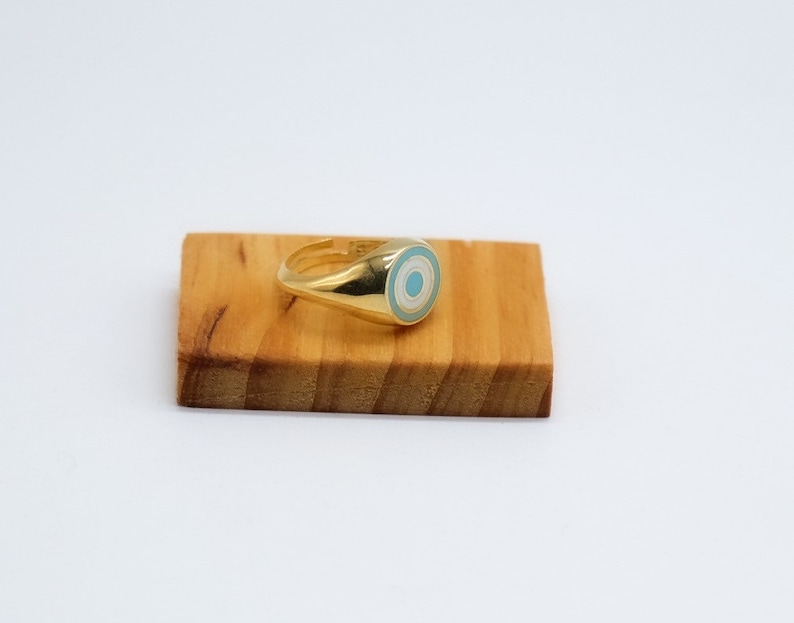 925 Sterling Silver Ring Signet Ring Handmade Ring 18K Gold Plated Ring Hypnose Ring Gift For Her Little Finger Ring Adjustable Ring