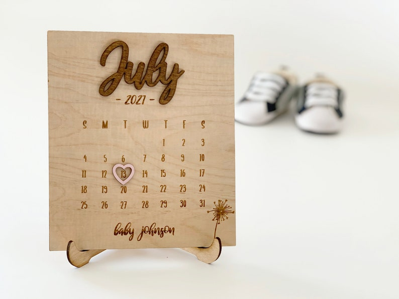 Due Date Calendar Wood  Baby Announcement  Pregnancy Reveal image 0