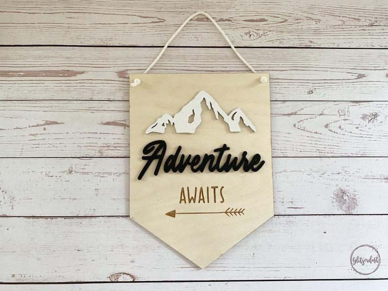 Adventure Awaits Nursery Sign  Wood Pennant  Nursery Wall image 0