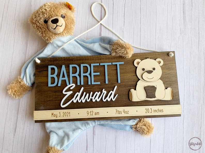 Wooden Nursery Sign  Personalized Newborn Gift  Bear Plaque image 0