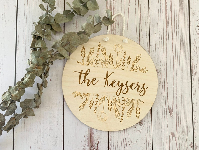 Round Wooden Family Sign  Last Name Floral Wood Sign image 0