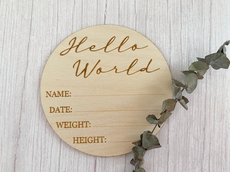 Hello World  Birth Announcement Sign  Baby Photo Prop  image 0