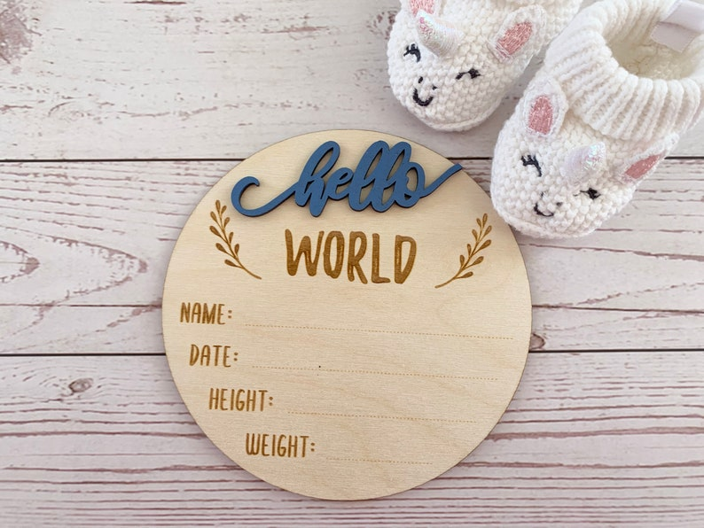 Birth Announcement Sign  Hello World  New Baby Gift  Baby image 0
