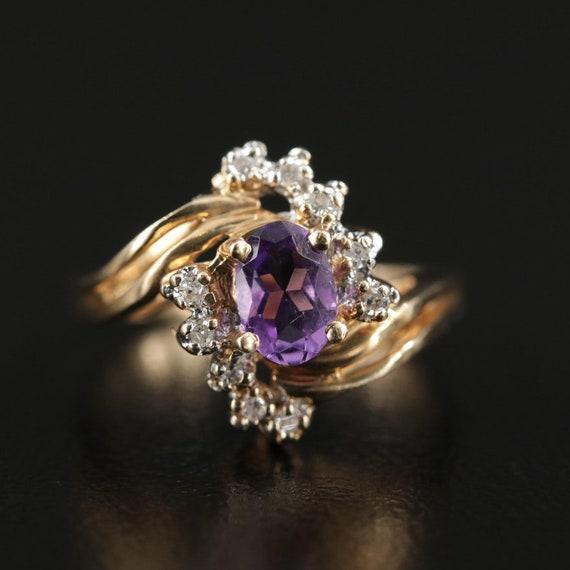 Vintage Amethyst and Diamond Ring - image 1
