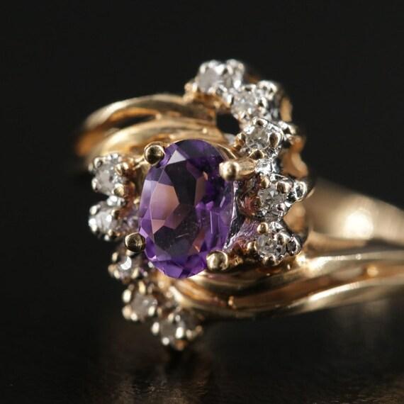 Vintage Amethyst and Diamond Ring - image 3