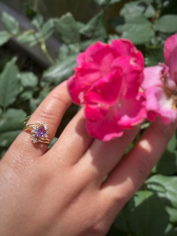 Vintage Amethyst and Diamond Ring - image 2