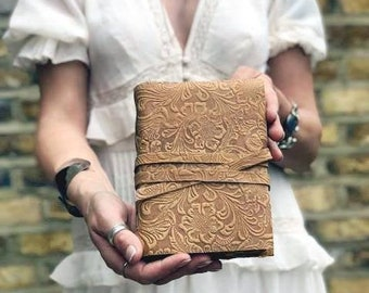 Women's FLOWER TOOLED LEATHER Journal, Vintage Deckle Edge Paper Diary, Engraved Floral Travel Notebook for Her, Book of Shadows