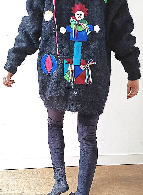 VINTAGE CLOWN JACKET M L - Quirky 80s Mohair Wool