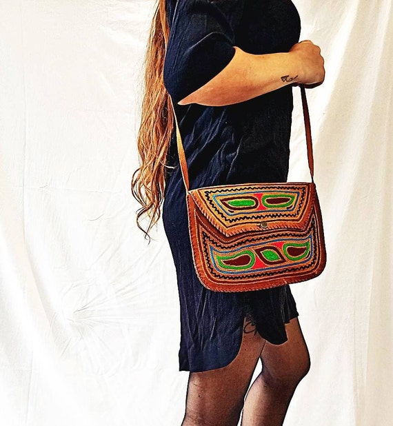 Ethnic Embroidered Purse Women/'s Hippie Bag Tan Mini Handmade Rucksack Boho Leather Bag Small VINTAGE LEATHER BACKPACK