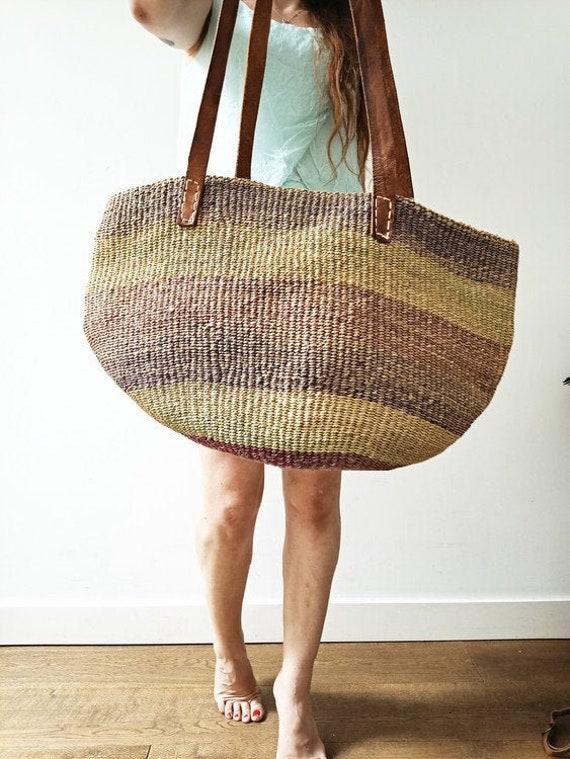 VINTAGE SISAL LEATHER Bag | 60s 70s Woven Bucket B