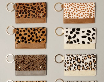 Genuine Leather ID card Holder, ID Card Wallet, Animal Pattern Wallets, Cheetah, Cow, Leopard Printing Wallets, Perfect Christmas Gifts