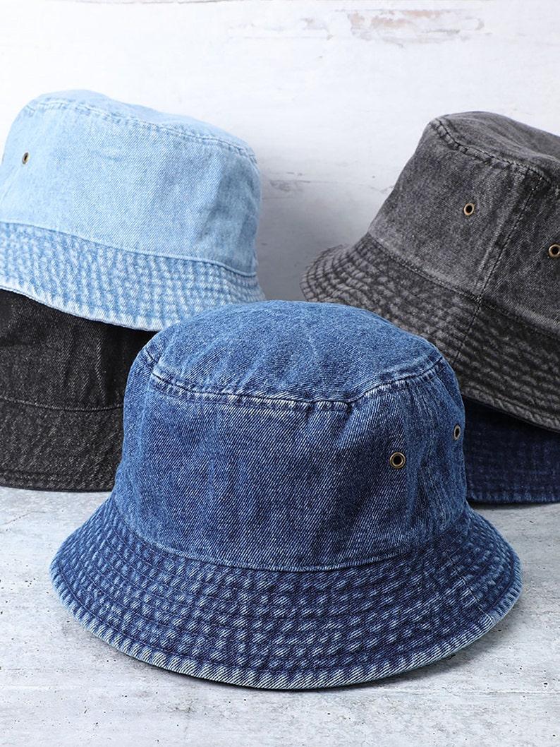 Vintage 100% Washed Cotton Canvas Denim Bucket Hat Casual Outdoor Fishing Hiking Safari Boonie Hat.