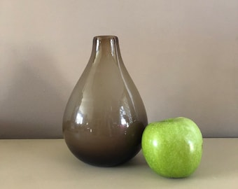 Vintage Mid Century Modernist Minimal Elegant Handblown Large Heavyweight Purple Art Glass Vase Heavy Clear Base Tall Flower Modern